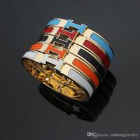 gold schönes armband großhandel-HB20 heißer Verkauf H Brief Armreif Mode heißer Verkauf H Brief Edelstahl Armreif schön senden mit Staubbeutel Armband