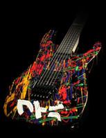 jack schwarze gitarre groihandel-Custom Shop Jack Son PC1 Signed 30th Anniversary Phil Collen Splatter handgemaltes E-Gitarre Floyd Rose Tremolo Brücke, schwarze Hardware