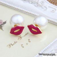 Wholesale toy red lips resale online - Hot sale creative ear double side earrings women s fashion sexy red lip pearl studs