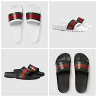 gummischuhe für strand großhandel-Hohe Qualität Luxus Designer Männer Sommer Schwarz Weiß Gummi Hausschuhe Strand Slide Mode Scuffs Sandalen Indoor Schuhe Größe 40-45