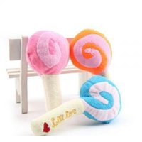 Wholesale dog plush squeak toy for sale - Cute Plush Lollipop Dog Toys Pet Puppy Chew Squeaker Squeak Sound Toy For Small Pet Dogs Products LJJP198