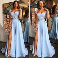 Wholesale pink fromal gown resale online - Cap Sleeves Open Back Light Sky Blue Formal Prom Party Dresses Sexy Side Split Appliques Evening Gowns Cheap Fromal Dress