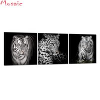 Wholesale tiger pieces art painting pictures resale online - 3 Pieces Black White Leopard Tiger Wall art d diamond painting Abstract Animal Picture diamond embroidery For Living Room Decor
