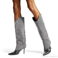 bayanlar gri çizme toptan satış-Tüp ve diz çizme bayanlar Avrupa ve Amerika Birleşik Devletleri moda Gray kara koyun Jing dikiş PU moda büyük boy ince yüksek topuklu