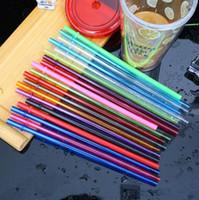 paillettes achat en gros de-Pailles jetables 260 * 6mm 9 couleurs bricolage créatif parti plastique pailles à boire 10.5inch pailles réutilisables pour grands gobelets maigres OOA6609