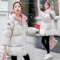 Wholesale warm maternity clothes resale online - Down Cotton Clothing Warm Mid Long Down Jacket For Pregnant Hooded Female Overcoat Loose Thick Maternity Clothes Maternity Coat