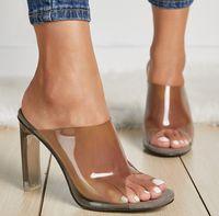 Wholesale 11 cm shoes resale online - New Arrival Transparent CM High Heels Clear Heeled Peep Toe Woman Slides Slippers Fashion Slip On Ladies Dress Shoes
