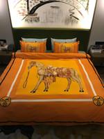 folhas laranja cama venda por atacado-Laranja quente 4 pcs Conjuntos de Cama Novo Design de Algodão Letra Cores Folha de Cama de Inverno Queen Size Moda Cama