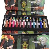 make-up-kit lippenstift schatten großhandel-Halloween Grimasse Glitter Lipgloss 12pcs flüssiger Lippenstift Set 6pcs Lipgoss + 6pcs Pailletten flüssiger Lidschatten Weihnachten Makeup Kit