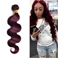 99j cheveux humains ondulés achat en gros de-8A Bundle de cheveux brésiliens Wave Wave 99j Bundle Weave Color 99J Bourgogne cheveux Bundles Deal Wet and Wavy