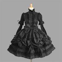 cosplay vestidos del victorian al por mayor-Mujer princesa Halloween Victorian Gothic Lolita Disfraz Señora Maid Layered Dress Cosplay Juegos Q190521