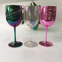 Wholesale cups art resale online - PS Plastic Moet Et Chandon Wine Glass Gift for Friend Clients Decorative Colorful Transparent Party Wine Goblet Y200107