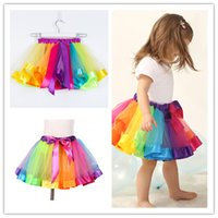 Wholesale tutu skirts girls colorful for sale - Group buy Kids Rainbow TUTU Skirt Dress Children Girls Ball Gown Colorful Dance Wear Dress Ballet Pettiskirt Summer performance Party Clothing