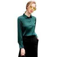 стрейч-атласные рубашки оптовых-Формальная рубашка с длинным рукавом из 100% натурального шелка, атласа, женская, с длинным рукавом, размер L, XL, XXL, XXXL