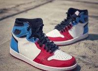 ingrosso pelle vernice blu-1 paio di scarpe da basket da uomo blu rosso di prima classe OG Fearless 1S UNC Chicago Sports Sneakers in pelle verniciata us7-12