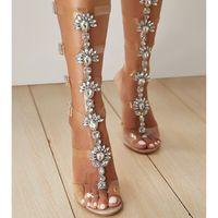 ingrosso sandali di strass bohemia-Sandali tacco alto estate gladiatore oro strass ginocchio fibbia alta al ginocchio donna sandali diamante boho stile etnico scarpe da spiaggia in cristallo