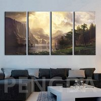 Wholesale canvas grouping paintings for sale - Group buy Canvas Home Decor Painting Wall Art Mountain Scenery Pictures HD Prints Groups of Animals Poster Modular Framed For Living Room