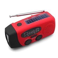 linternas led bateria recargable al por mayor-Radio de emergencia multifuncional Enrollamiento solar para uso autónomo y recargable El uso de la radio meteorológica como linterna LED y banco de energía