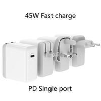 45w ladegerät großhandel-Ladegerät 45W Single Port PD Reiseladegerät TYPE-C Schnittstelle EU US UK Standard Schnellladegerät Adapter
