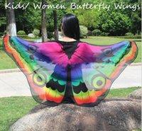asas alaranjadas da borboleta venda por atacado-Suave Borboleta Chiffon Isis Asas Asas De Monarca Laranja Trajes De Desempenho Fada Manto Crianças Adultos Barato Venda Quente