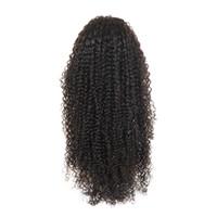 bakire kıvırcık 26 inç toptan satış-Peruk Brezilyalı Bakire Sapıkça Kıvırcık İnsan Saç 4x4 Dantel Ön Peruk Siyah Kadınlar için 1b ile Doğal Renk 8-26 Inç Tutkalsız Ücretsiz Bölüm