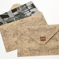 Wholesale korean invitations resale online - 10pcs set Retro Kraft Envelope Ideal World Envelope for Invitations Cute Kawaii Paper Letter Set Korean School Stationery