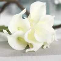 gelin buketi malzemeleri toptan satış-Yapay Çiçekler Ucuz PU Calla Lily Ev Dekorasyon Düğün Parti Malzemeleri için Gelin Buketi Yapay Çiçekler