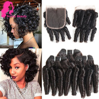 kısa insan saçı örgüleri toptan satış-Brezilyalı Funmi Gevşek Kıvırcık İnsan Saç Bahar Curl Saç Kapatma Sıkı Kıvırmak Saç Demetleri ile 3 Demetleri Kısa Spiral kabarık Romantizm Örgü