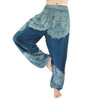 ioga mulheres indianas venda por atacado-Thai Indian Yoga Calças Lanterna Calças Yoga Wear Mulheres Algodão De Alta-cintura Design Destaques de verão fina