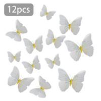 kelebek siyah duvar çıkartması toptan satış-12 Adet 3D Kelebek Duvar Sticker Çıkartması Dekor Sanat Dolabı Magnet Dekorasyon Sarı Siyah Beyaz Kelebek Duvar Çıkartmaları