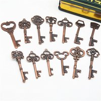 Wholesale bottle opener styles resale online - 13 Styles Keychain Opener Ancient Copper Key Beer Bottle Opener Creative Wedding Gift Party Bar Tool