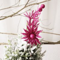Wholesale flower lights stems for sale - Group buy Christmas Pendant Drop Ornaments Glitter Artificial Flower Stems For Xmas Tree Christmas Wreath Ornaments Wedding Party Holiday