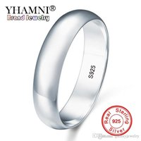 ingrosso regali originali di fidanzamento-YHAMNI Originale Naturale Reale 925 Sterling Silver Wedding Band Anello Fine Jewelry Lover Engagement Anelli Regalo Per Le Donne Uomini SY925