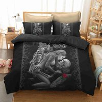 Wholesale western king size bedding for sale - Group buy Western style Bedding Set Single Double King Size Quilt Cover Set Motorcycle beauty skull for adult Comforter Cover Set