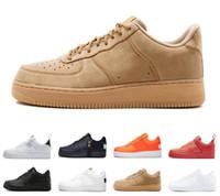 erkekler için siyah beyaz gündelik ayakkabılar toptan satış-Bir 1 Dunk Lüks Erkek Casual Ayakkabı Chaussures Kaykay Siyah Beyaz Turuncu Buğday Kadın Erkek Yüksek Düşük Tasarımcı Trainer Platformu Sneaker