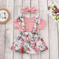 bebekler için bebek elbiseleri toptan satış-2019 Perakende Bebek Kız Giyim Seti Romper + kayma elbise Yenidoğan Bebek Kulakları Bodysuits Noel Giyim Moda Kıyafetler Toddlers Giyim