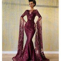 robes rouges kim kardashian achat en gros de-Robes de soirée Yousef aljasmi Kim kardashian O-cou sirène manches bouffantes Vin rouge dentelle robe de bal Zuhair murad Ziadnakad 00as
