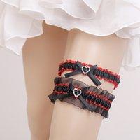 kırmızı boncuk setleri toptan satış-Düğün Gelin kırmızı Boncuk Yay için Garters 2 adet Set Gelin Düğün Garters Için Gelin Garters Organze Ücretsiz Boyutu 16 ~ 23 Inç Stokta Ucuz