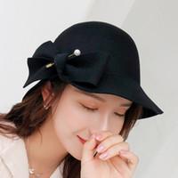 bayanlar siyah şapka hissettim toptan satış-100% Yün Inciler Şapka Kadın siyah Pillbox Şapka Hissettim Siyah Bayanlar Vintage Kokteyl Moda Düğün Derby Fedora Chapeau Femme D19011102