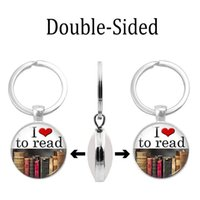 Wholesale small stainless steel carabiner for sale - 2019 new fashion necklace cross border new accessories reading poetry time gem two sided keychain creative custom small gift giveaway