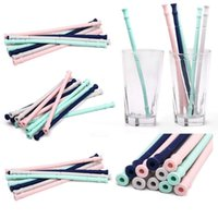 Wholesale Silicone Foldable Drinking Straw Collapsible Reusable Straw With Pack Kit And Cleaning Brush Outdoor Home Kitchen Bar Tools CCA10900