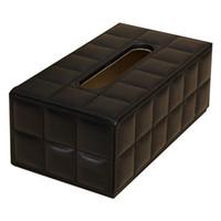 caja de servilleta funda de cuero al por mayor-Rectángulo duradero para el hogar Caja de pañuelos de cuero de la PU Soporte de papel Funda Funda Servilleta negro