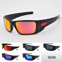 gafas de sol de colores fríos al por mayor-5 colores para hombre gafas de sol deportivas fresco marco grande al aire libre o gafas 9096 motos gafas unisex gafas de sol gafas de ciclo