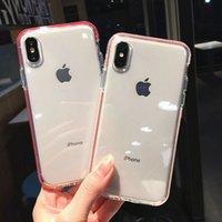 çift katmanlı kapak toptan satış-Yüksek kaliteli Yumuşak Temizle Vaka Kapak iphone XR X XS MAX 6 6 s 7 8 Artı Anti-Vurmak Çift Renkler Katmanlar Koruyucu Silikon Kabuk