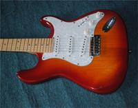 Wholesale white pearl guitar resale online - Custom orange sunlight burst body electric guitar with SSH pickup White Pearl Pickguard Rosewood Fretboard provide cutting