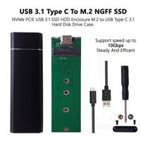 sata ide sabit disk caddy toptan satış-M.2 NGFF SATA SSD, USB 3.0 / 3.1 Tip C Harici Sürücü Muhafaza Kutusu w / UASP Siyah renk Ücretsiz kargo