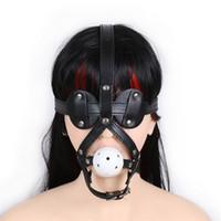 black hood sex toptan satış-Yetişkin Seksi Oyuncaklar Fetiş Açık Ağız Maskesi Kafa Esaret Hood Siyah Seks Maskesi Baştan Başörtüsü Başlık Flört Seks Ürünleri Çiftler Için