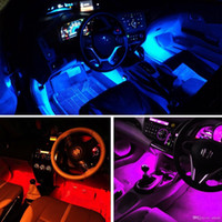 Wholesale car lights resale online - 4 In Car Inside Atmosphere Lamp Led Interior Decoration Lighting Rgb color Led Wireless Remote Control Chip v Charge Charming