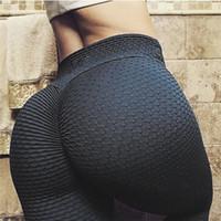 calças de yoga apertadas para mulheres venda por atacado-Cintura alta das mulheres Texturizado Treino Leggings Booty Scrunch Calças de Yoga Emagrecimento Ruched Calças Justas Respirável Calças Slim