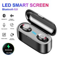 Wholesale Wireless Earphone Bluetooth V5 F9 TWS Wireless Bluetooth Headphone LED Display mAh Charging Box Headsets With Microphone